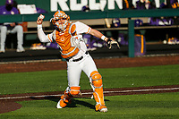 Tennessee Volunteers catcher Pete Derkay (10) warms up prior to the game against the LSU Tigers on Robert M. Lindsay Field at Lindsey Nelson Stadium on March 26, 2021, in Knoxville, Tennessee. (Danny Parker/Four Seam Images)