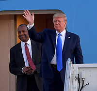 FORT LAUDERDALE, FL - DECEMBER 07: US President Donald Trump and United States Secretary of Housing and Urban Development Ben Carson deplane from Air Force One at Fort Lauderdale-Hollywood International Airport on December 7, 2019 in Fort Lauderdale, Florida.<br /> <br /> <br /> People:  President Donald Trump, Ben Carson