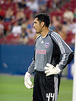 FC Dallas goalkeeper Dario Sala (44) looks on as his team squanders a lead in stopage time to tie the Houston Dynamo 2-2.  Houston Dynamo vs FC Dallas at Pizza Hut Park in Frisco, Texas May-28-2008. Final Score 2-2