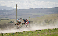 race leaders Nico Denz (DEU/AG2R-La Mondiale), Leo Vincent (FRA/Groupama-FDJ), Diego Rosa (ITA/Sky) and Alexandre Geniez (FRA/AG2R-La Mondiale) in dusty Tuscany<br /> <br /> 13th Strade Bianche 2019 (1.UWT)<br /> One day race from Siena to Siena (184km)<br /> <br /> ©kramon