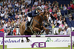 August 09, 2009: Jessica Kuerten (IRL) aboard Castle Forbes Cosma competing in the Grand Prix event. Longines International Grand Prix. Failte Ireland Horse Show. The RDS, Dublin, Ireland.