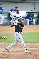 Trae Santos (16) of the Lake Elsinore Storm bats against the Rancho Cucamonga Quakes at LoanMart Field on April 10, 2016 in Rancho Cucamonga, California. Lake Elsinore defeated Rancho Cucamonga, 7-6. (Larry Goren/Four Seam Images)