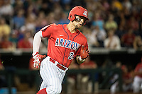 JJ Matijevic #24 of the Arizona Wildcats runs during a College World Series Finals game between the Coastal Carolina Chanticleers and Arizona Wildcats at TD Ameritrade Park on June 28, 2016 in Omaha, Nebraska. (Brace Hemmelgarn/Four Seam Images)
