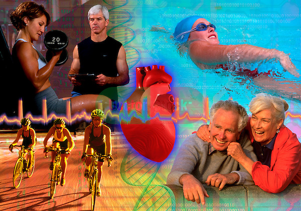 metaphoric composite photo illustration with icons of health including pregnant female weight training, DNA model, a heart rhythm, swimming, and healthy elders