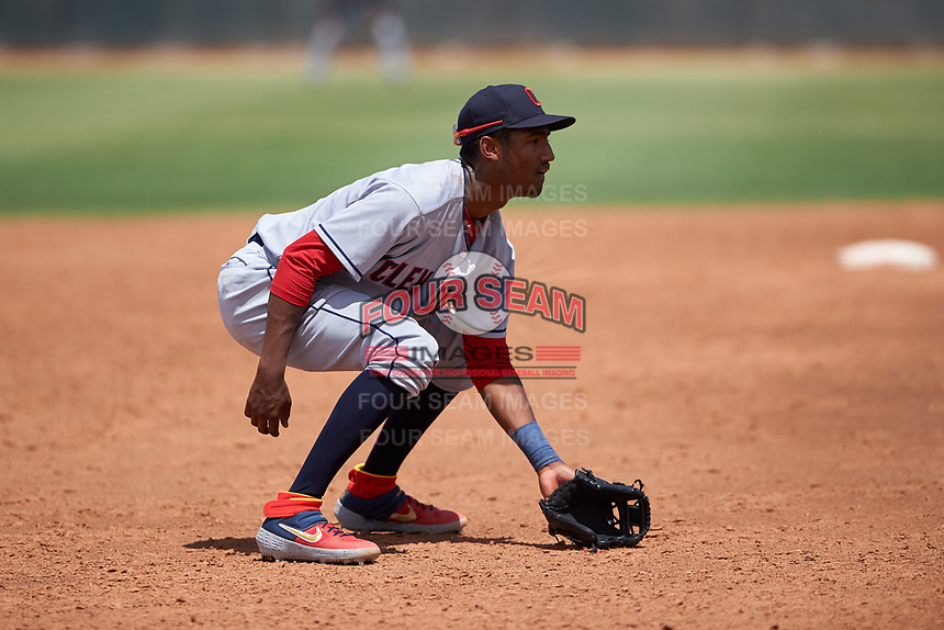 AZL Indians Red third baseman Jordan Brown (32) during an Arizona League game against the AZL Indians Blue on July 7, 2019 at the Cleveland Indians Spring Training Complex in Goodyear, Arizona. The AZL Indians Blue defeated the AZL Indians Red 5-4. (Zachary Lucy/Four Seam Images)