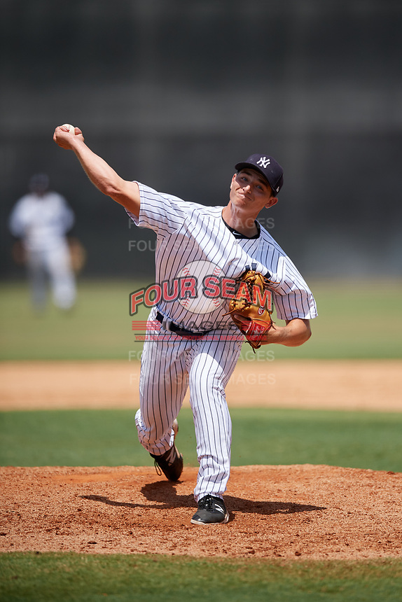 GCL Yankees West relief pitcher Sean Boyle (47) delivers a pitch during a game against the GCL Yankees East on August 8, 2018 at Yankee Complex in Tampa, Florida.  GCL Yankees West defeated GCL Yankees East 8-4.  (Mike Janes/Four Seam Images)
