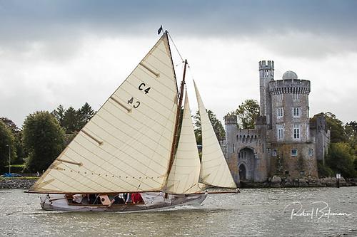 Jap, the restored Cork Harbour One Design, reaches the finish line at Blackrock Castle