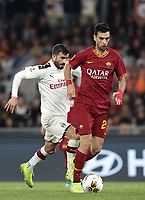 Football, Serie A: AS Roma - AC Milan, Olympic stadium, Rome, October 27, 2019. <br /> Roma's Javier Pastore (r) in action with Milan' Mateo Musacchio (l) during the Italian Serie A football match between Roma and Milan at Olympic stadium in Rome, on October 27, 2019. <br /> UPDATE IMAGES PRESS/Isabella Bonotto