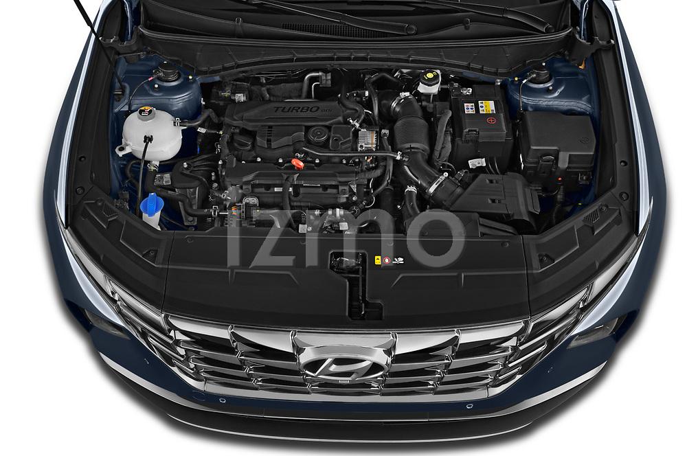 Car Stock 2021 Hyundai Tucson Shine 5 Door SUV Engine  high angle detail view