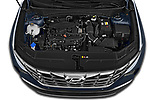 Car Stock 2021 Hyundai Tucson Shine 5 Door SUV Engine  high angle detail view