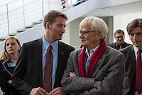 68. Sitzungs des NSA-Untersuchungsausschuss des Deutschen Bundestages. Geladen war fuer die Ausschusssitzung der Sachverstaendige (Sonderermittler) der Bundesregierung, Dr. Kurt Graulich.<br /> Im Bild vlnr.: Prof. Dr. Patrick Sensberg, Vorsitzender des Untersuchungsausschuss, Christian Stroebele, Mitglied im Untersuchungsausschuss fuer Buendnis 90/Die Gruenen.<br /> 5.11.2015, Berlin<br /> Copyright: Christian-Ditsch.de<br /> [Inhaltsveraendernde Manipulation des Fotos nur nach ausdruecklicher Genehmigung des Fotografen. Vereinbarungen ueber Abtretung von Persoenlichkeitsrechten/Model Release der abgebildeten Person/Personen liegen nicht vor. NO MODEL RELEASE! Nur fuer Redaktionelle Zwecke. Don't publish without copyright Christian-Ditsch.de, Veroeffentlichung nur mit Fotografennennung, sowie gegen Honorar, MwSt. und Beleg. Konto: I N G - D i B a, IBAN DE58500105175400192269, BIC INGDDEFFXXX, Kontakt: post@christian-ditsch.de<br /> Bei der Bearbeitung der Dateiinformationen darf die Urheberkennzeichnung in den EXIF- und  IPTC-Daten nicht entfernt werden, diese sind in digitalen Medien nach §95c UrhG rechtlich geschuetzt. Der Urhebervermerk wird gemaess §13 UrhG verlangt.]