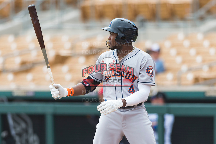 Scottsdale Scorpions designated hitter Ronnie Dawson (4), of the Houston Astros organization, at bat during an Arizona Fall League game against the Glendale Desert Dogs at Camelback Ranch on October 16, 2018 in Glendale, Arizona. Scottsdale defeated Glendale 6-1. (Zachary Lucy/Four Seam Images)