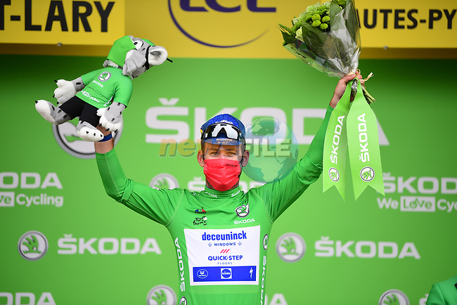 Mark Cavendish (GBR) Deceuninck-Quick Step retains the points Green Jersey at the end of Stage 17 of the 2021 Tour de France, running 178.4km from Muret to Saint-Lary-Soulan Col du Portet, France. 14th July 2021.  <br /> Picture: A.S.O./Pauline Ballet   Cyclefile<br /> <br /> All photos usage must carry mandatory copyright credit (© Cyclefile   A.S.O./Pauline Ballet)