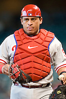 Philadelphia Phillies catcher Carlos Ruiz #51 during the Major League Baseball game against the Houston Astros at Minute Maid Park in Houston, Texas on September 14, 2011. Philadelphia defeated Houston 1-0 to clinch a playoff berth.  (Andrew Woolley/Four Seam Images)