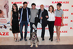 "From left to right, actors, Leticia Dolera, Alex Garcia, Director Alex Pina, Hector Alterio, Carmen Machi, Verónica Echegui and Rua the dog attend the photocall of the movie ""KAMIKAZE"" in Madrid, Spain. March 27, 2014. (ALTERPHOTOS/Carlos Dafonte)"
