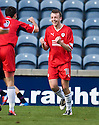 Raith's Greig Spence (10) celebrates after he scores Rovers' goal ...