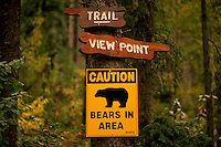 Bear Warning Sign on Trail in Park - Caution, Bears in Area
