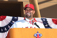 Albert Pujols (5) of the Los Angeles Angels at press conference introducing him as a new member of the Angels at Angel Stadium on December 10, 2011 in Anaheim,California.(Larry Goren/Four Seam Images)