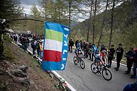 Bob Jungels (LUX/Deceuninck - Quick Step) up the Colle San Carlo (Cat1/1921m/10.1km/9.8%)<br /> <br /> Stage 14: Saint Vincent to Courmayeur/Skyway Monte Bianco (131km)<br /> 102nd Giro d'Italia 2019<br /> <br /> ©kramon