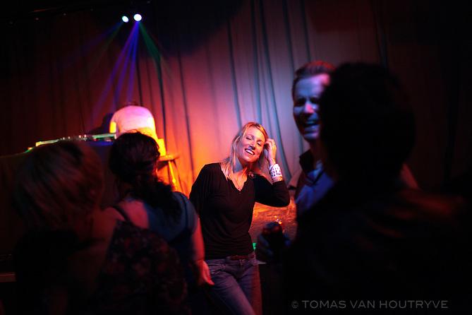 People dance at a club in Metelkova, an alternative artist's squat in Ljubljana, Slovenia on Oct. 24, 2011.