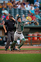 Clinton LumberKings catcher Will Banfield (11) and umpire Pete Talkington react to a play during a Midwest League game against the Great Lakes Loons on July 19, 2019 at Dow Diamond in Midland, Michigan.  Clinton defeated Great Lakes 3-2.  (Mike Janes/Four Seam Images)