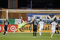 SAN JOSE, CA - SEPTEMBER 16: San Jose Earthquakes goalkeeper JT Marcinkowski #18 dives for a shot during a game between Portland Timbers and San Jose Earthquakes at Earthquakes Stadium on September 16, 2020 in San Jose, California.