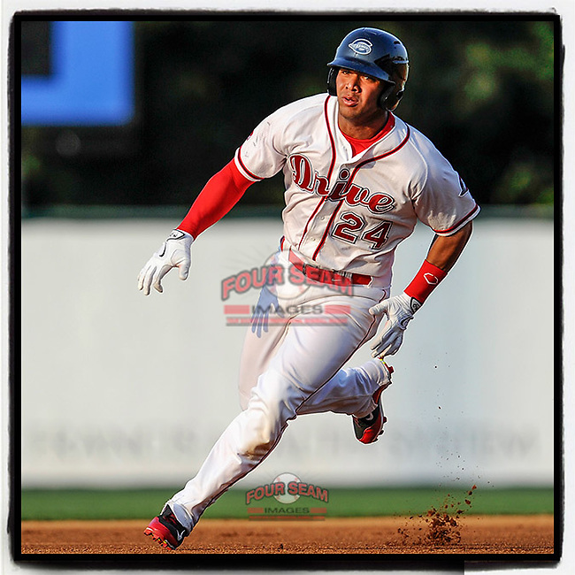 #OTD On This Day, June 29, 2015, second baseman Yoan Moncada (24) of the Greenville Drive headed toward third in a game against the Charleston RiverDogs at Fluor Field at the West End in Greenville, South Carolina. The Cuban-born 19-year-old Red Sox signee had been ranked the No. 1 international prospect in baseball by Baseball America. He has now played for Chicago for the past three years. (Tom Priddy/Four Seam Images) #MiLB #OnThisDay #MissingBaseball #nobaseball #stayathome #minorleagues #minorleaguebaseball #Baseball #SallyLeague #AloneTogether