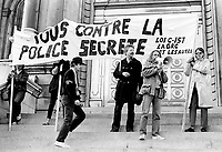 October 15, 1983 file photo - Montreal, Quebec, CANADA - <br /> Artist Armand Vaillancourt and Gilles Rheaume, President, Societe Saint-Jean Baptiste du Quebec are among the speakers at a Demonstration held in front of Montreal city Hall, against law C-157 creating the Canadian Security Intelligence Service.<br /> <br /> When the Government first introduced Bill C-157 in May, 1983, the broad mandate for the proposed new civilian intelligence service caused considerable public opposition. As a result, the Government referred the bill to a Senate Committee which recommended major changes.<br /> <br /> In January 1984, the Government introduced Bill C-9 which included virtually all of the changes recommended by the Senate Committee. This revised bill was passed by the House of Commons and the Senate in June 1984, and on July 16, 1984
