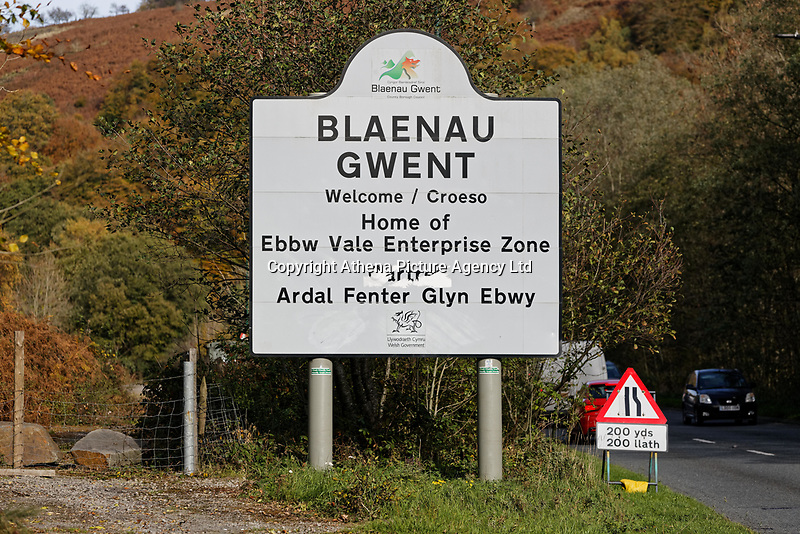 Pictured: A Blaenau Gwent sign, Wales, UK. Tuesday 23 October 2018<br /> Re: 73% of all restaurants in one part of Wales are selling fast food, according to a survey.<br /> Blaenau Gwent tops the UK with 55 out of 75 outlets takeaway venues.<br /> Caerphilly has second highest proportion of take-away with 66%, Rhondda Cynon Taff is number four in the UK with 63%.<br /> Wales has had 670 fast food outlets open in the past eight years, with Neath Port Talbot seeing its numbers more than double from 50 to 105.
