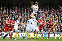 Julien Bonnaire of ASM Clermont Auvergne wins a lineout during the Heineken Cup Final between ASM Clermont Auvergne and RC Toulon at the Aviva Stadium, Dublin on Saturday 18th May 2013 (Photo by Rob Munro)