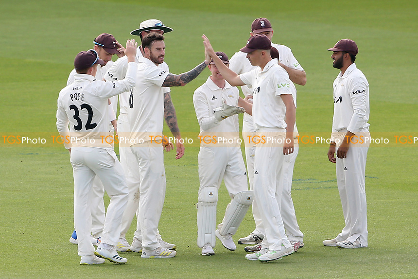 Jordan Clark of Surrey celebrates with his team mates after taking the wicket of Nick Browne during Surrey CCC vs Essex CCC, LV Insurance County Championship Division 2 Cricket at the Kia Oval on 12th September 2021