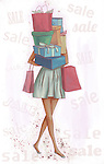 Conceptual illustration of woman carrying loads of gift box