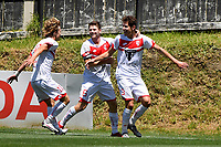 Jack Duncan of Waitakere United celebrates a goal with team mates during the ISPS Handa Men's Premiership - Team Wellington v Waitakere Utd at David Farrington Park,Wellington on Saturday 30 January 2021.<br /> Copyright photo: Masanori Udagawa /  www.photosport.nz