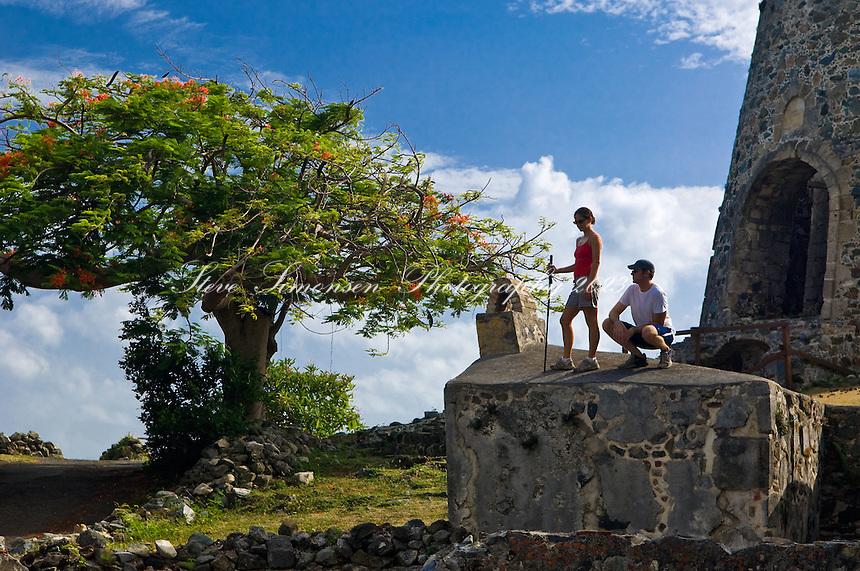 Couple at Annaberg Ruins.Virgin Islands National Park,.St. John US Virgin Islands
