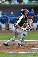 Vince Fernandez (8) of the Grand Junction Rockies follows through on his swing against the Ogden Raptors during the Pioneer League game at Lindquist Field on August 26, 2016 in Ogden, Utah. The Raptors defeated the Rockies 6-5. (Stephen Smith/Four Seam Images)