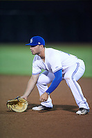 Dunedin Blue Jays first baseman Ryan McBroom (23) during a game against the Palm Beach Cardinals on April 15, 2016 at Florida Auto Exchange Stadium in Dunedin, Florida.  Dunedin defeated Palm Beach 8-7 in ten innings.  (Mike Janes/Four Seam Images)