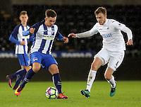 Pictured: Ryan Blair of Swansea (R) Tuesday 28 February 2017<br /> Re: Premier League International Cup, Swansea City U23 v Hertha Berlin II at at the Liberty Stadium, Swansea, UK