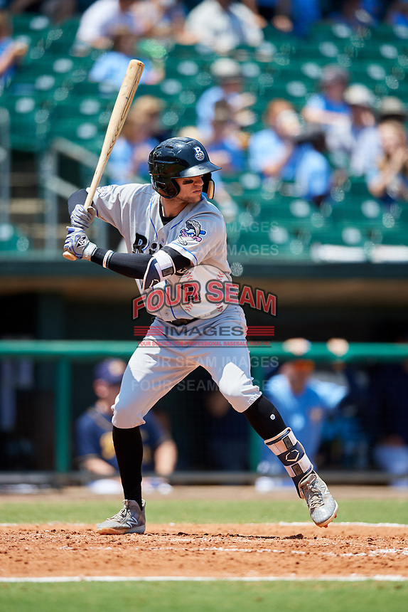 Biloxi Shuckers shortstop Jake Hager (2) at bat during a game against the Montgomery Biscuits on May 8, 2018 at Montgomery Riverwalk Stadium in Montgomery, Alabama.  Montgomery defeated Biloxi 10-5.  (Mike Janes/Four Seam Images)