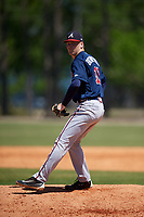 Atlanta Braves pitcher Walter Borkovich (19) during a Minor League Spring Training game against the Detroit Tigers on March 22, 2018 at the TigerTown Complex in Lakeland, Florida.  (Mike Janes/Four Seam Images)