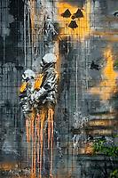 Sprayer und Graffitikuenstler konnten vom 9. bis 12. Mai 2013 auf dem Gelaende der ehemaligen Abhoerstation der US-Armee auf dem Teufelsberg in Berlin ganz legal ihre Ideen spruehen.<br />Im Bild: Schablonenkunst von Plotbot Ken oder auch Plottenroboter KEN genannt.<br />9.5.2013, Berlin<br />Copyright: Christian-Ditsch.de<br />Die Bilder sind auf Anfrage auch hochaufloesend in druckbarer Qualitaet erhaeltlich.<br />[Inhaltsveraendernde Manipulation des Fotos nur nach ausdruecklicher Genehmigung des Fotografen. Vereinbarungen ueber Abtretung von Persoenlichkeitsrechten/Model Release der abgebildeten Person/Personen liegen nicht vor. NO MODEL RELEASE! Don't publish without copyright Christian Ditsch/version-foto.de, Veroeffentlichung nur mit Fotografennennung, sowie gegen Honorar, MwSt. und Beleg. Konto:, I N G - D i B a, IBAN DE58500105175400192269, BIC INGDDEFFXXX, Kontakt: post@christian-ditsch.de.<br />Urhebervermerk wird gemaess Paragraph 13 UHG verlangt.]