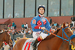 Jockey Channing Hill looking at the tote board aboard #11 Sugar Shock after an objection during the running of the Honeybee Stakes (Grade III) at Oaklawn Park in Hot Springs, Arkansas-USA on March 8, 2014. (Credit Image: © Justin Manning/Eclipse/ZUMAPRESS.com)