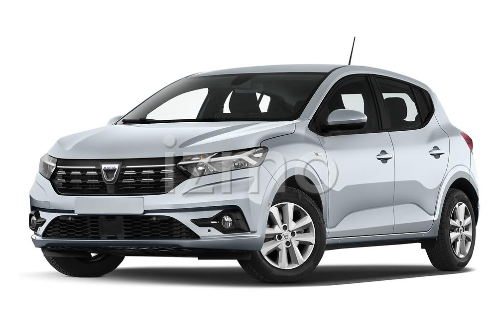 Low aggressive front three quarter view of a 2021 Dacia Sandero Comfort 5 Door Hatchback