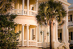 Columns and a beautiful round balcony in the Battery district,  Charleston, SC, USA