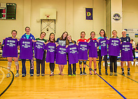 9 November 2013: The 2013 All-League Vermont High School Girls Volleyball team is presented at the Annual State Championships held at Johnson State College in Johnson, Vermont. High School Volleyball has been granted a two-year exhibition status in the State of Vermont starting with the 2013 season, in effort to attain full varsity status. Mandatory Credit: Ed Wolfstein Photo *** RAW (NEF) Image File Available ***