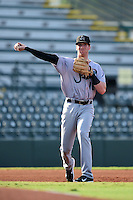Jupiter Hammerheads third baseman Colin Moran (18) warmup throw to first during a game against the Bradenton Marauders on June 25, 2014 at McKechnie Field in Bradenton, Florida.  Bradenton defeated Jupiter 11-0.  (Mike Janes/Four Seam Images)