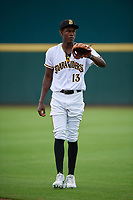 Bradenton Marauders Oneil Cruz (13) during warmups before a Florida State League game against the Charlotte Stone Crabs on April 10, 2019 at LECOM Park in Bradenton, Florida.  Bradenton defeated Charlotte 2-1.  (Mike Janes/Four Seam Images)