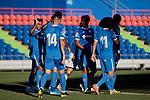 Getafe CF's players celebrate goal during Preseason match between Getafe CF and Crotone FC at Colisseum Alfonso Perez in Getafe, Spain. August 02, 2019. (ALTERPHOTOS/A. Perez Meca)