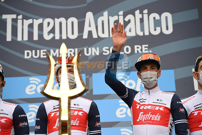 Vincenzo Nibali (ITA) Trek-Segafredo at sign on before the start of Stage 2 of Tirreno-Adriatico Eolo 2021, running 202km from Camaiore to Chiusdino, Italy. 11th March 2021. <br /> Photo: LaPresse/Gian Mattia D'Alberto | Cyclefile<br /> <br /> All photos usage must carry mandatory copyright credit (© Cyclefile | LaPresse/Gian Mattia D'Alberto)