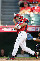 Mike Trout of the Los Angeles Angels organization participates in the Futures Game at Angel Stadium in Anaheim,California on July 11, 2010. Photo by Larry Goren/Four Seam Images