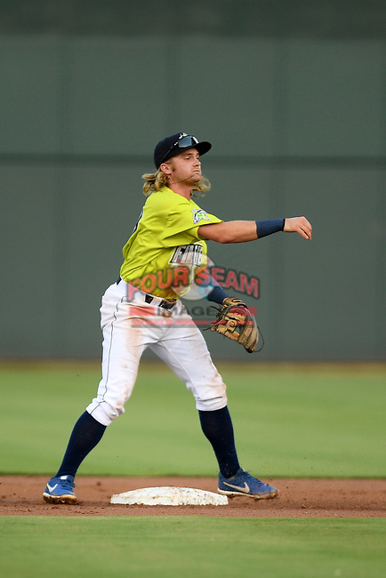Seconed baseman Nick Conti (21) of the Columbia Fireflies plays defense in a game against the Hickory Crawdads on Wednesday, August 28, 2019, at Segra Park in Columbia, South Carolina. Hickory won, 7-0. (Tom Priddy/Four Seam Images)
